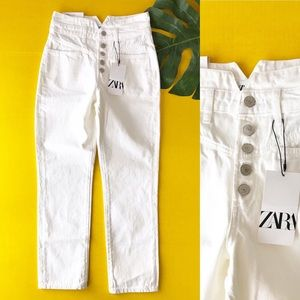 Zara The 80s Straight Button Fly White Denim Jeans